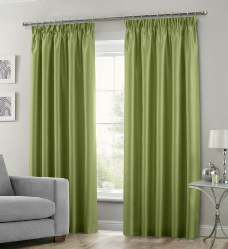 LIME GREEN COLOUR STYLISH FAUX SILK FULLY LINED PAIR OF CURTAINS